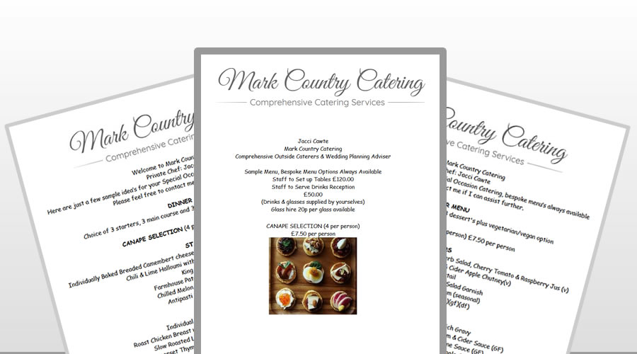 private professional catering menus Somerset South West